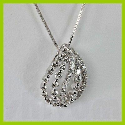Genuine 0.670 Leaves Diamond Pendant 18kt Gold-White
