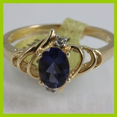 Genuine  0.97 ctw  Iolite Ring  14KT Yellow Gold