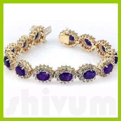 Genuine Vintage Design  23.17ctw Amethyst Bracelet  14K