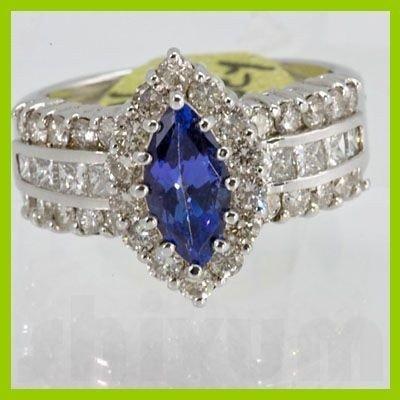 Genuine 2.56 ctw Tanzanite Diamond Ring 14k White Gold