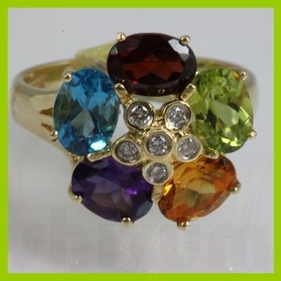 Genuine  3.2 ctw  Multi Sapphire Ring  14KT Yellow Gold