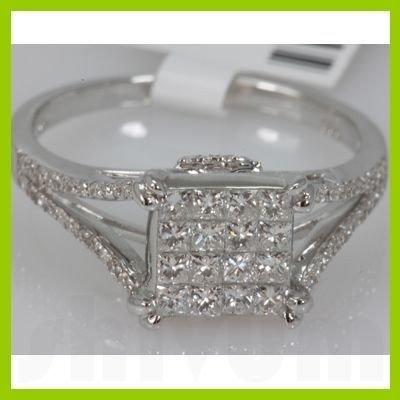 Genuine 0.79ctwPrincess cut Diamond Ring14kt White Gold