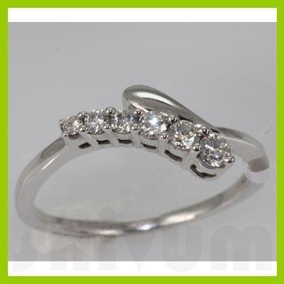 Genuine 0.29 ctw Diamond Ring 14K White Gold