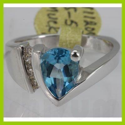 Genuine  2.5 ctw  Blue Topaz Ring  14KT White Gold