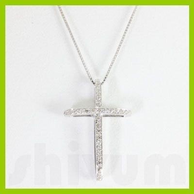 "Genuine 0.25 ctw Cross Diamond Necklace 16"" 14kt"