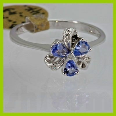 Genuine 0.45 ctw Tanzanite Diamond Ring 14k White Gold