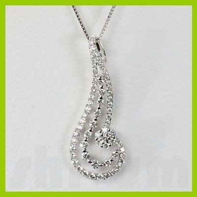 Genuine 0.69 ctw Diamond Pendant 18kt Gold-White