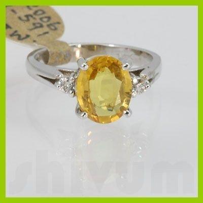 Genuine 2.20 ctw Yellow Sapphire& Diamond Ring 14KT