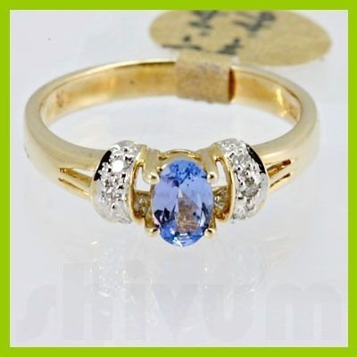 Genuine 0.50 ctw Tanzanite Diamond Ring 14k Yellow Gold