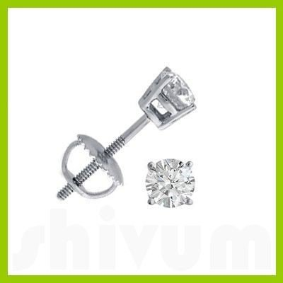 0.66 ctw Round cut Diamond Stud Earrings F-G, VVS