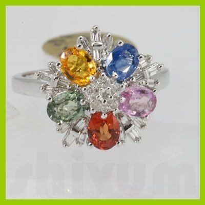 Genuine 2.65 ctw Multi-Sapphire & Diamond Ring 18KT