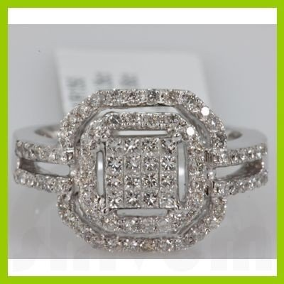Genuine 1.01ctwPrincess cut Diamond Ring14kt White Gold