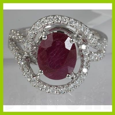 Genuine 4.93 ctw Ruby & Diamond Ring 18kt Gold-White