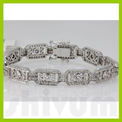 Genuine 3.83ctw Diamond Bracelet 14K White Gold