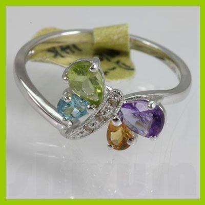 Genuine  1.015 ctw  Multi Sapphire Ring  14K White Gold