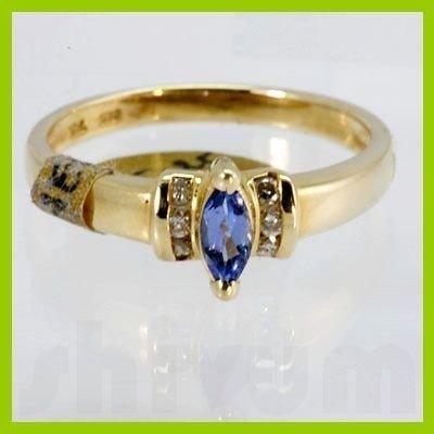 Genuine 0.38 ctw Tanzanite Diamond Ring 14k Yellow Gold