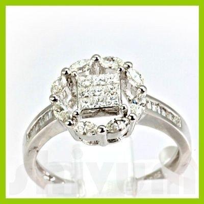 Genuine 0.79 ctw Princess Cut & Diamond Ring 18kt