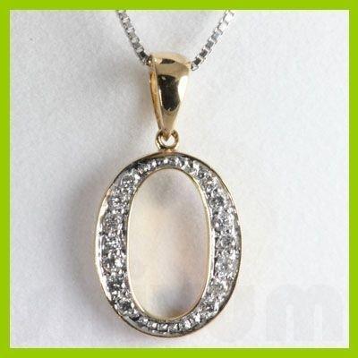 "Genuine 0.14 ctw Letter O Diamond Necklace 16"" 14kt"