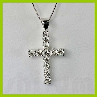 Genuine 0.980 ctw Cross Diamond Pendant 18kt Gold-White