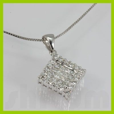 Genuine 0.95 ctw Princess Cut Diamond Pendant 18kt