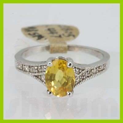 Genuine 2.0 ctw Yellow Sapphire& Diamond Ring 14KT