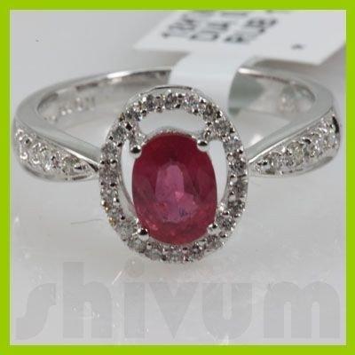 Genuine 1.35 ctw 18k Ruby & Diamond White Gold Ring