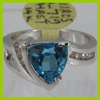 Genuine  3.73 ctw  Blue Topaz Ring  14KT White Gold