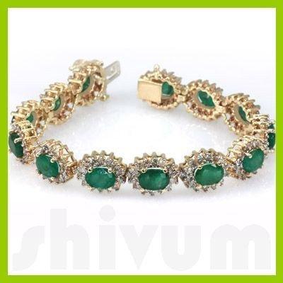 Genuine  23.3 ctw Emerald Diamond Bracelet  14K