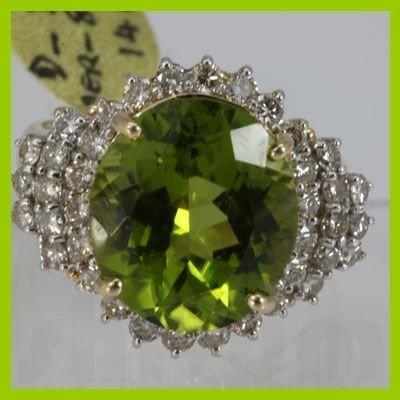 Genuine  8.88 ctw  Peridot Ring  14KT Yellow Gold