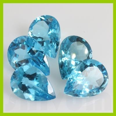 Natural Blue Topaz Pear Cut 13x18mm 66.28ctw@2.5 USD/ct