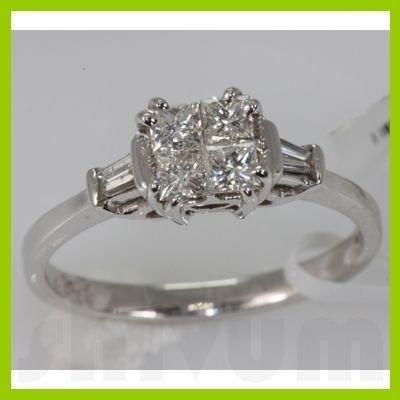 Genuine 0.69 ctw Diamond Ring 14K White Gold