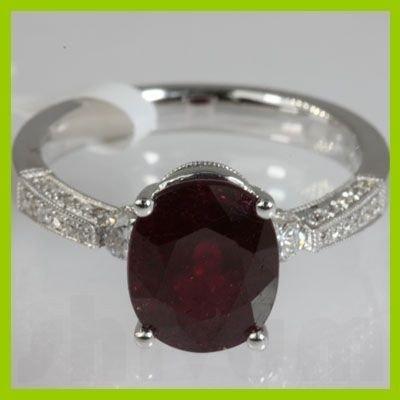 Genuine 5.02 ctw Ruby & Diamond  Ring 18kt Gold-White