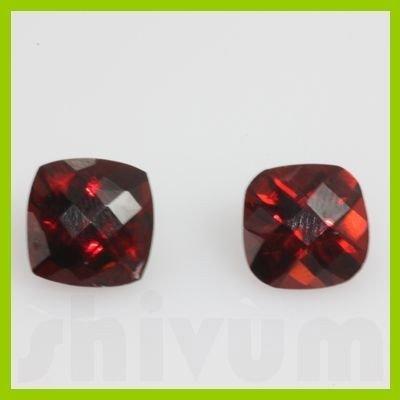 Natural Red Garnet Checkered Cushion 2 pcs/lot @$15/ct