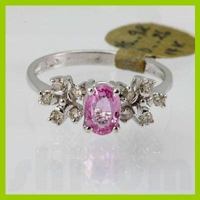 Genuine 1.18 ctw Pink Sapphire& Diamond Ring 14KT