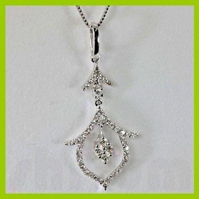 Genuine 0.78 ctw Diamond Pendant 18kt Gold-White