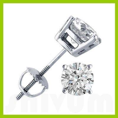 2.00 ctw Round cut Diamond Stud Earrings F-G, SI2
