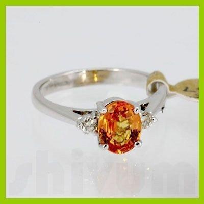 Genuine 1.34 ctw Orange Sapphire & Diamond Ring 14KT