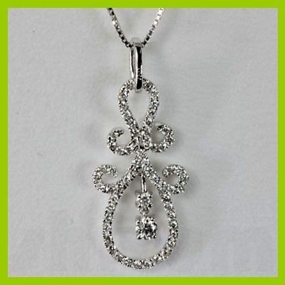 Genuine 0.64 ctw Pear Diamond Pendant 18kt Gold-White