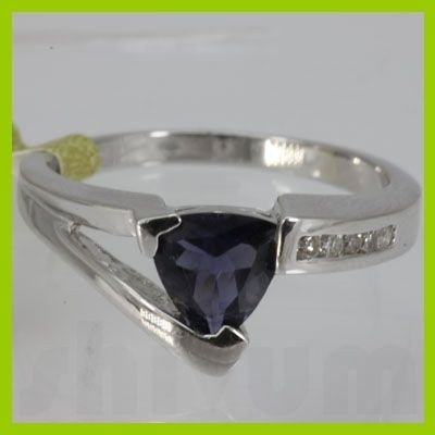 Genuine  0.94 ctw  Iolite Ring  14KT White Gold