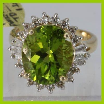 Genuine  7.76 ctw  Peridot Ring  14KT Yellow Gold
