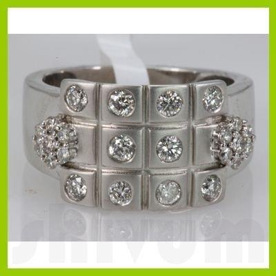 Genuine 0.74 ctw Diamond Ring 14K White Gold
