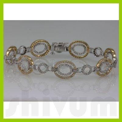 Genuine 2.52ctw Diamond Bracelet 14K Two Tone Gold