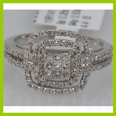 Genuine 0.78 ctw Princess cut Diamond Ring 14k White G