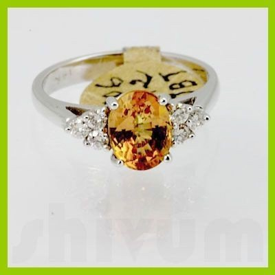 Genuine 2.29 ctw Yellow Sapphire& Diamond Ring 14KT