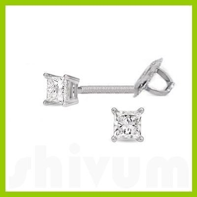 0.25 ctw Princess cut Diamond Stud Earrings F-G, VS