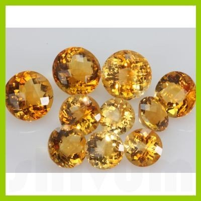 Natural Citrine Round Checkered Cut 15mm @5USD/ct