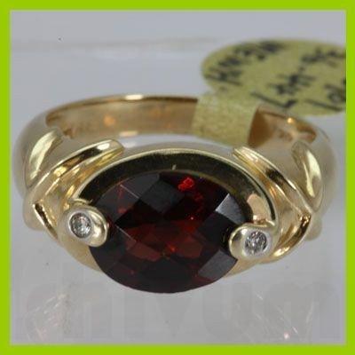 Genuine  3.32 ctw  Garnet Ring  14KT Yellow Gold