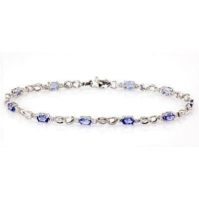Genuine Tanzanite (Zoisite)2.52Ctw Diamond Bracelet 10K