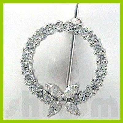 Genuine 1 ctw 14K Diamond Studded Fashion Brooch HI SI2