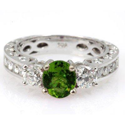 Genuine Peridot 1.92 ctw & Diamond Ring 14KTGold 6.75